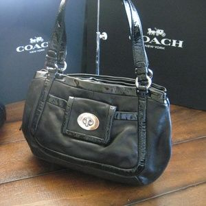 Coach Cricket Black Leather Satchel 13601